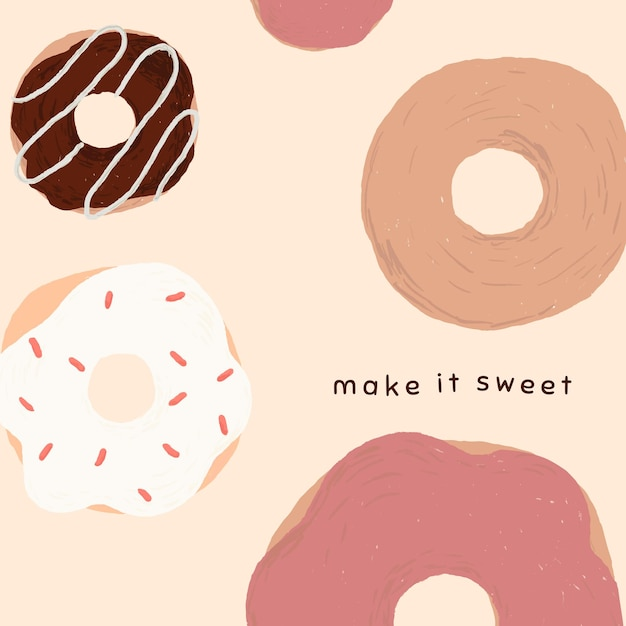Leuke donutsjabloonvector voor post op sociale media, maak het zoet