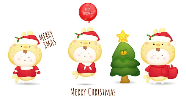 Leuke doodle baby santa voor vrolijke kerst illustratie set premium vector
