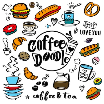 Leuke doodle coffeeshop pictogrammen. koffie en thee tekeningen voor cafe menu