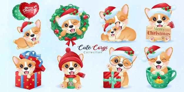 Leuke doodle corgi ingesteld voor kerstdag met aquarel illustratie