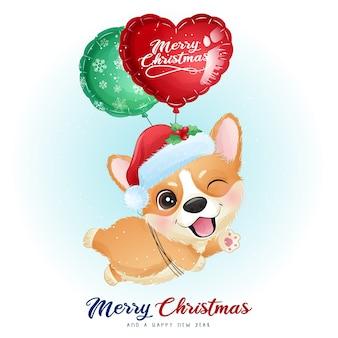 Leuke doodle corgi voor eerste kerstdag met aquarel illustratie