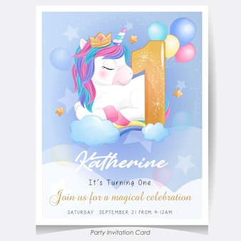 Leuke doodle eenhoorn verjaardagsfeestje uitnodigingskaart illustratie