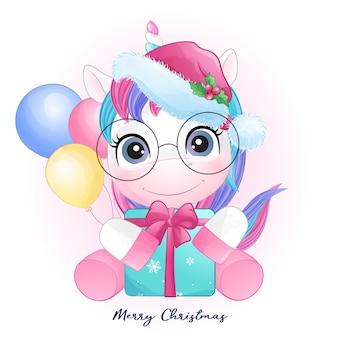 Leuke doodle eenhoorn voor kerstmis in aquarel stijl