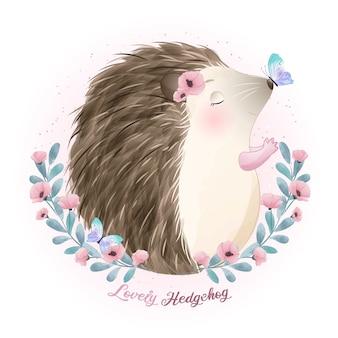 Leuke doodle egel met aquarel illustratie