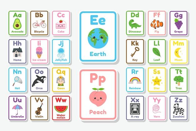 Leuke doodle flash card alfabet