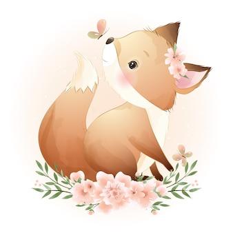 Leuke doodle foxy met bloemenillustratie