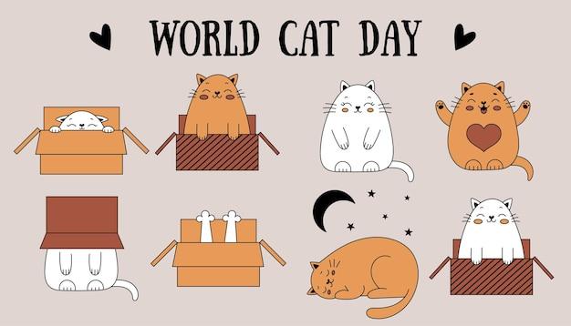 Leuke doodle katten briefkaart voor de internationale dag van katten vrolijke kat in een doos