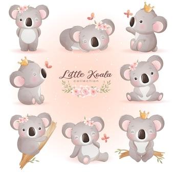 Leuke doodle koala met bloemen illustratie
