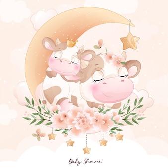 Leuke doodle koe babyshower met aquarel illustratie