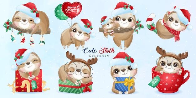 Leuke doodle luiaard ingesteld voor kerstdag met aquarel illustratie