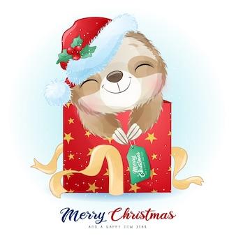 Leuke doodle luiaard voor eerste kerstdag met aquarel illustratie