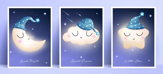 Leuke doodle maan, ster en wolk met frame-collectie Premium Vector