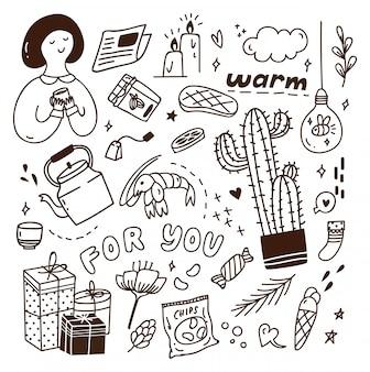 Leuke doodle met een mix van verschillende objecten