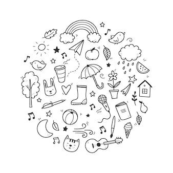 Leuke doodle met wolk, regenboog, zon, dierlijk element. hand getrokken lijn kinderen stijl. doodle achtergrond vectorillustratie.