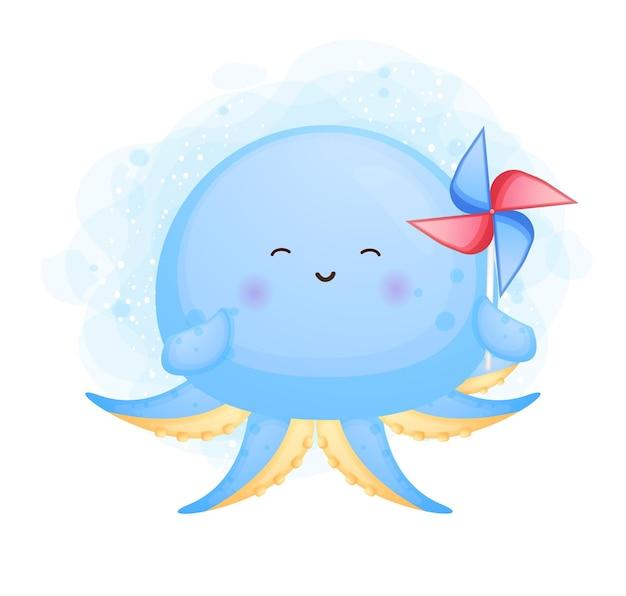 Leuke doodle octopus spelen windmolens cartoon afbeelding