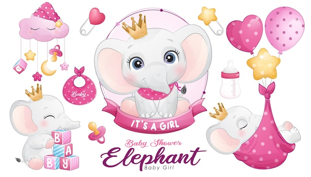 Leuke doodle olifant babydouche met aquarel illustratie set
