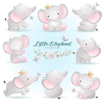 Leuke doodle olifant vormt met bloemen illustratie