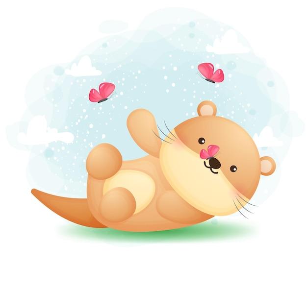 Leuke doodle otter spelen met vlinder cartoon