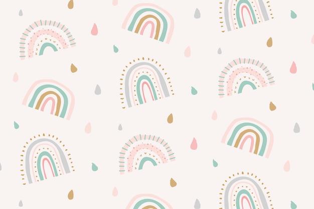 Leuke doodle patroon regenboog achtergrond vector