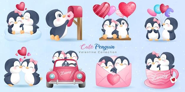 Leuke doodle pinguïn met poses-collectie