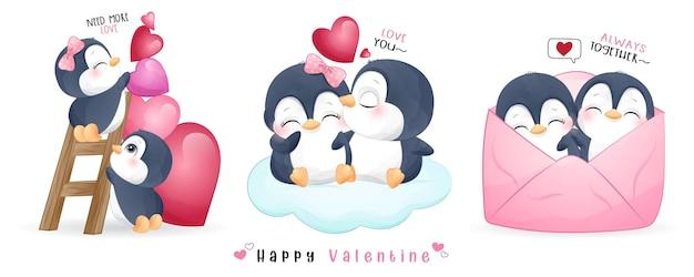 Leuke doodle pinguïn voor valentijnsdag collectie