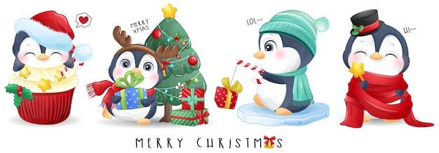 Leuke doodle pinguïn voor vrolijke kerst illustratie set