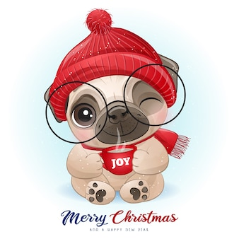 Leuke doodle pug voor kerstdag met aquarel illustratie