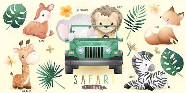 Leuke doodle safari dieren met bloemencollectie