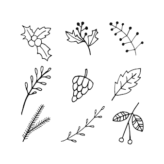 Leuke doodle set van holly rowan bladeren takken kegel fir tree pictogrammen hand getekende vector