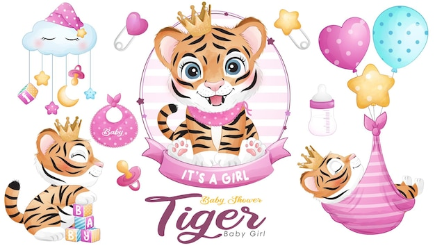 Leuke doodle tijger baby shower met aquarel illustratie set