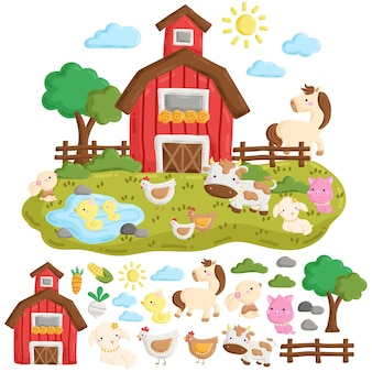 Leuke doodle van boerderijdieren en boerenerf