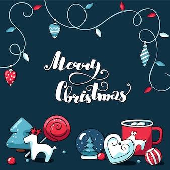 Leuke doodle vector kerstkaart met merry christmas belettering