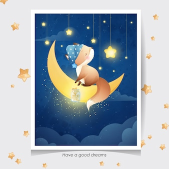 Leuke doodle vos met aquarel illustratie
