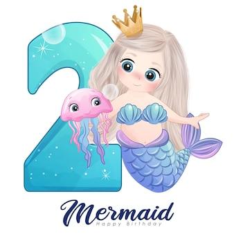 Leuke doodle zeemeerminkaart met nummer voor verjaardagsfeestje