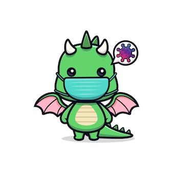 Leuke draak die een masker draagt om het mascottekarakter van een virusdier te voorkomen