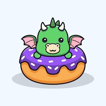 Leuke draak in donuts dierlijk mascottekarakter