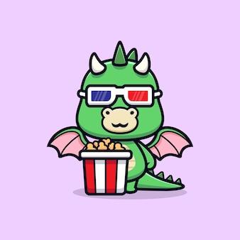 Leuke draak met popcorn en kijken naar film dier mascotte karakter