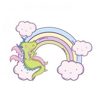 Leuke draak op wolkenbeeldverhalen