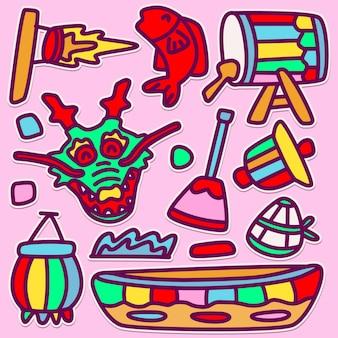 Leuke dragon boat doodle design illustration
