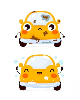 Leuke droevige vuile en gelukkige schone gele automobiele auto. platte cartoon karakter illustratie pictogram. geïsoleerd op wit. autowasserette