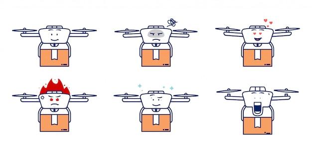 Leuke drone-koeriers bezorgservice draagt pakketpakket om cartoon-mascotteset te leveren