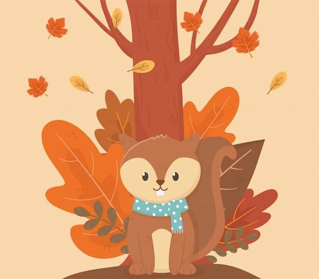 Leuke eekhoorn in de herfstseizoen