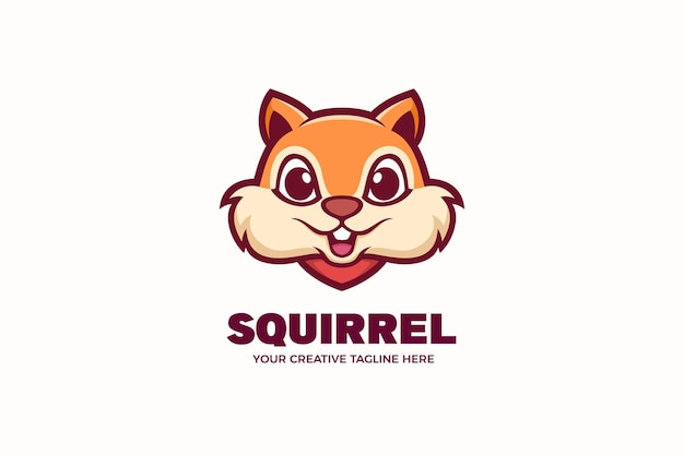 Leuke eekhoorn mascotte karakter logo sjabloon