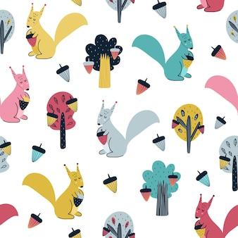 Leuke eekhoorn met illustratie van het eikel naadloze patroon