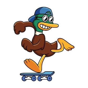 Leuke eend spelen skateboard cartoon afbeelding