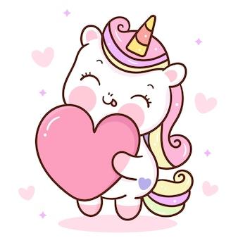 Leuke eenhoorn cartoon knuffel liefde hart kawaii dier