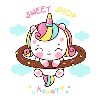 Leuke eenhoorn cartoon mascotte voor snoepwinkel