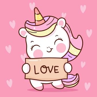 Leuke eenhoorn cartoon met liefde label kawaii voor valentijn dag