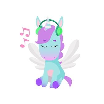 Leuke eenhoorn die aan muziek in hoofdtelefoons luistert