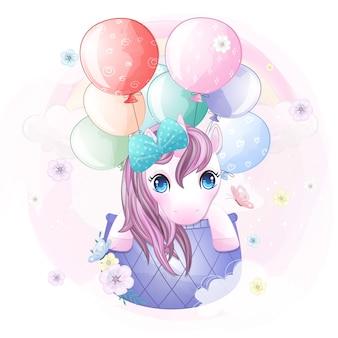 Leuke eenhoorn die met luchtballon vliegt